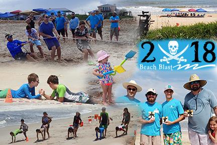 2018 Beach Blast photo collage of team members on the beach