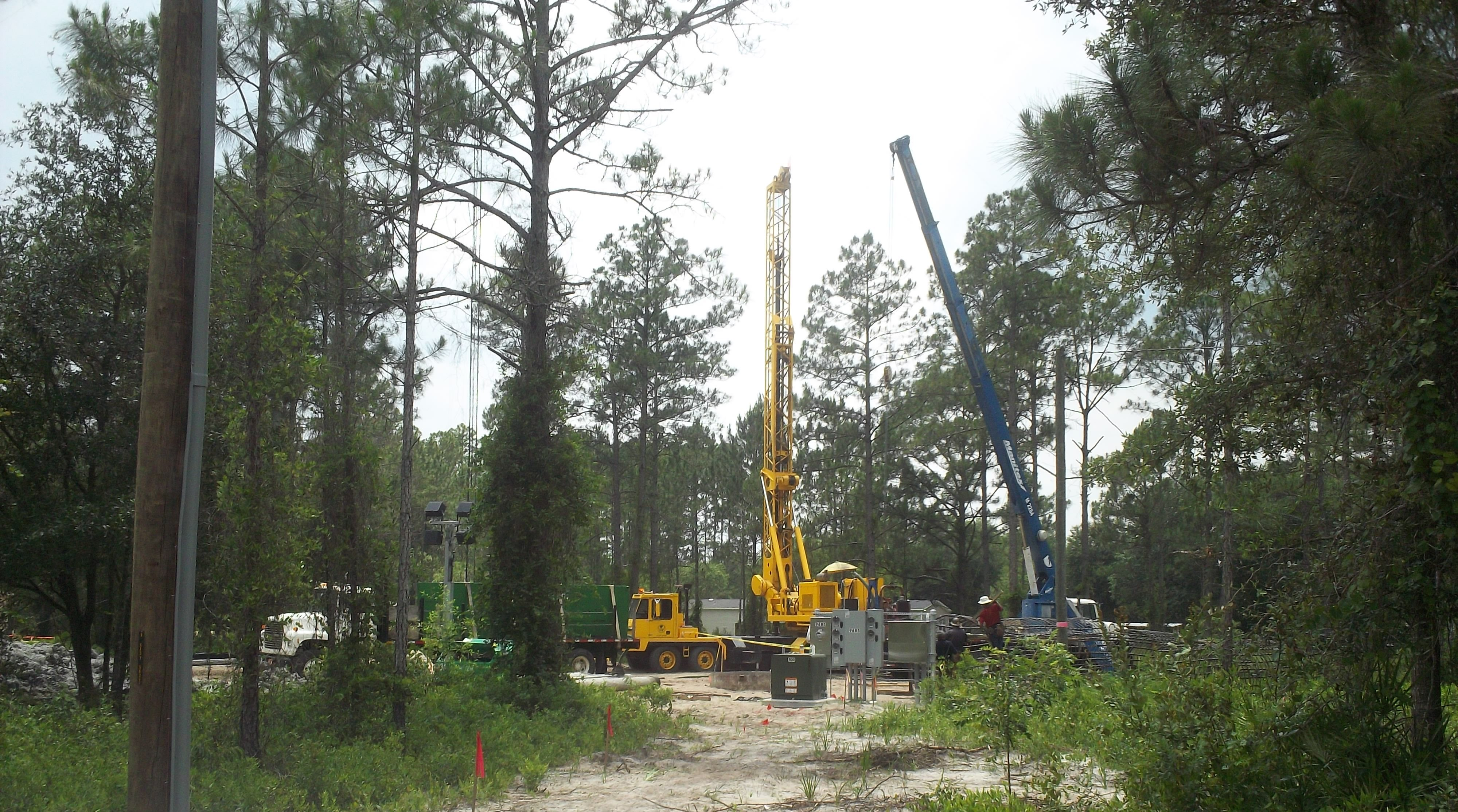 Photo of yellow and blue construction cranes at a jobsite surrounded by trees