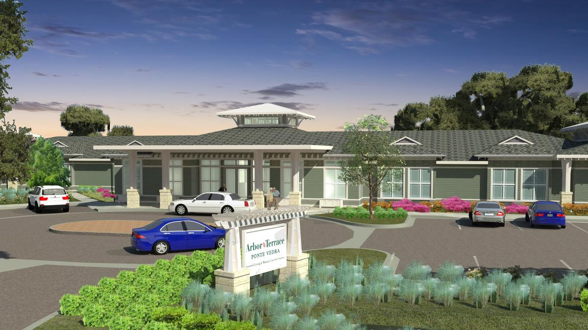 Colored rendering of Arbor Terrace showing the structure, landscape of green shrubbery, signage, and cars parked out front