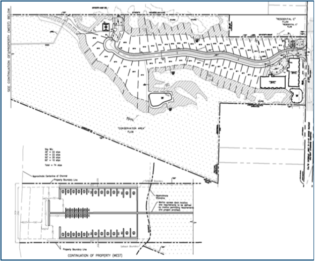 Black and white construction plans for the Beachcomber Residential project