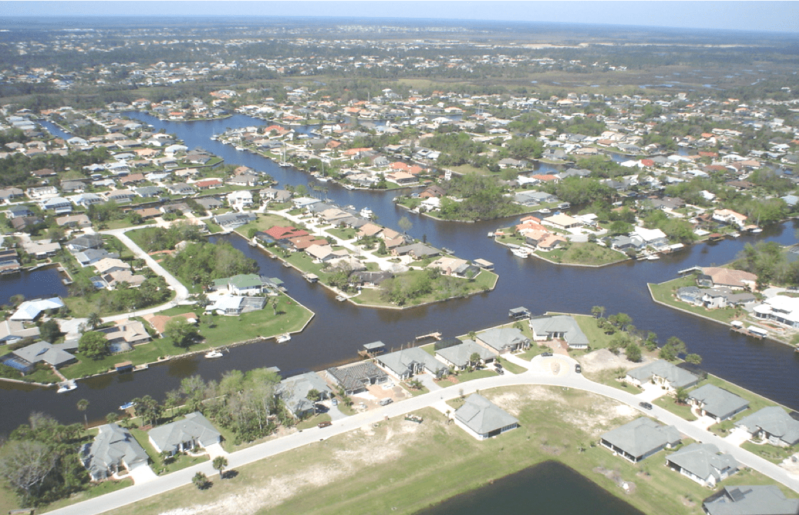 Aerial view of subdivisions in the City of Palm Coast divided by water