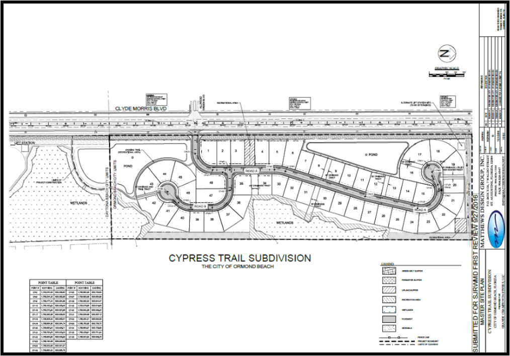 Photo of the Cypress Trail Subdivision construction plans showing the design of the roadway and parcels