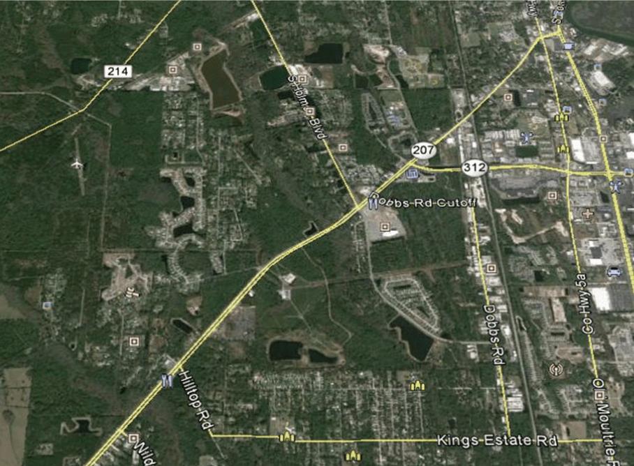 Aerial map showing roadways 207 and 312 of St Augustine