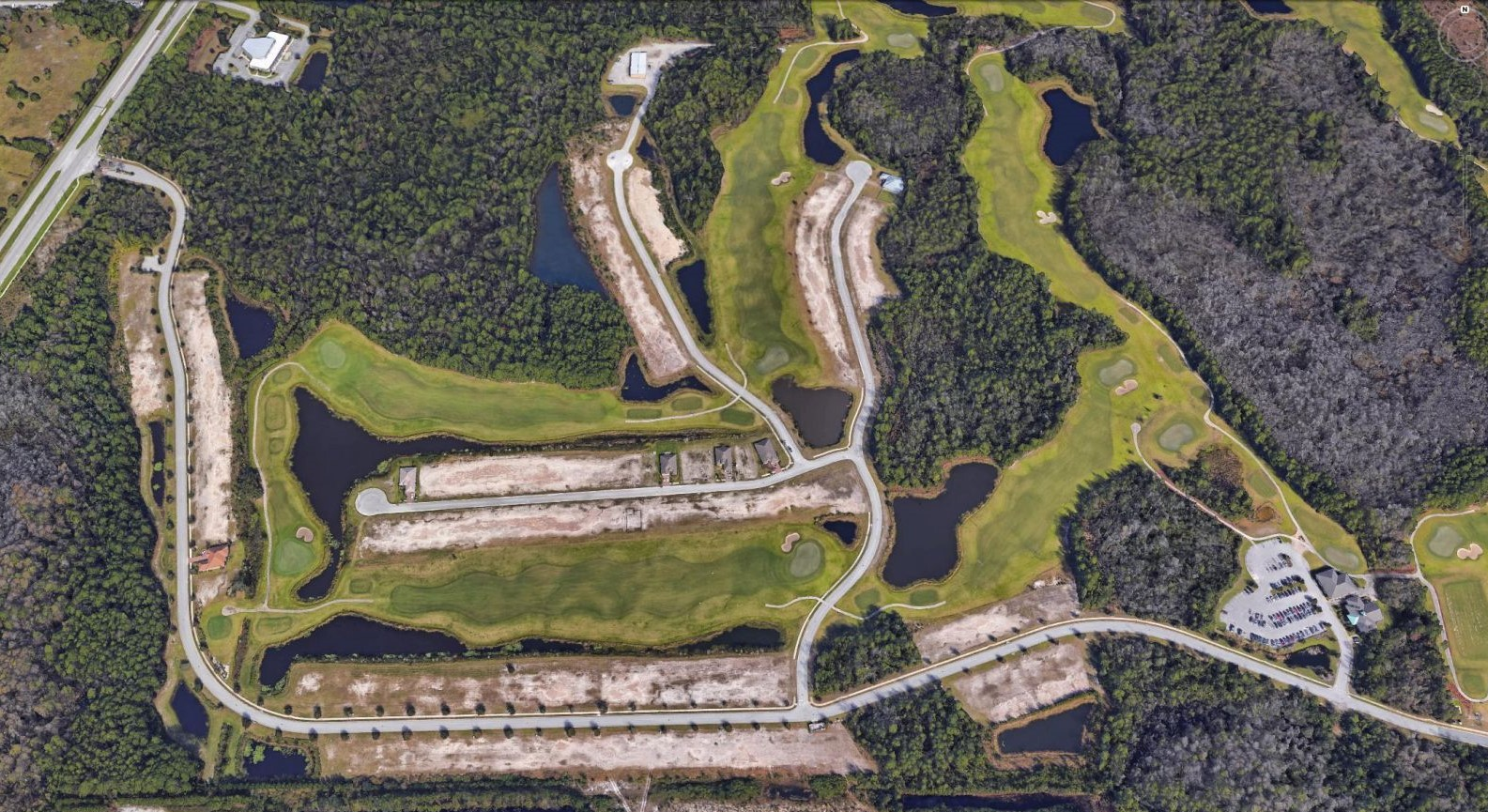 Aerial photo of Grand Reserve showing the roadway design and golf courses