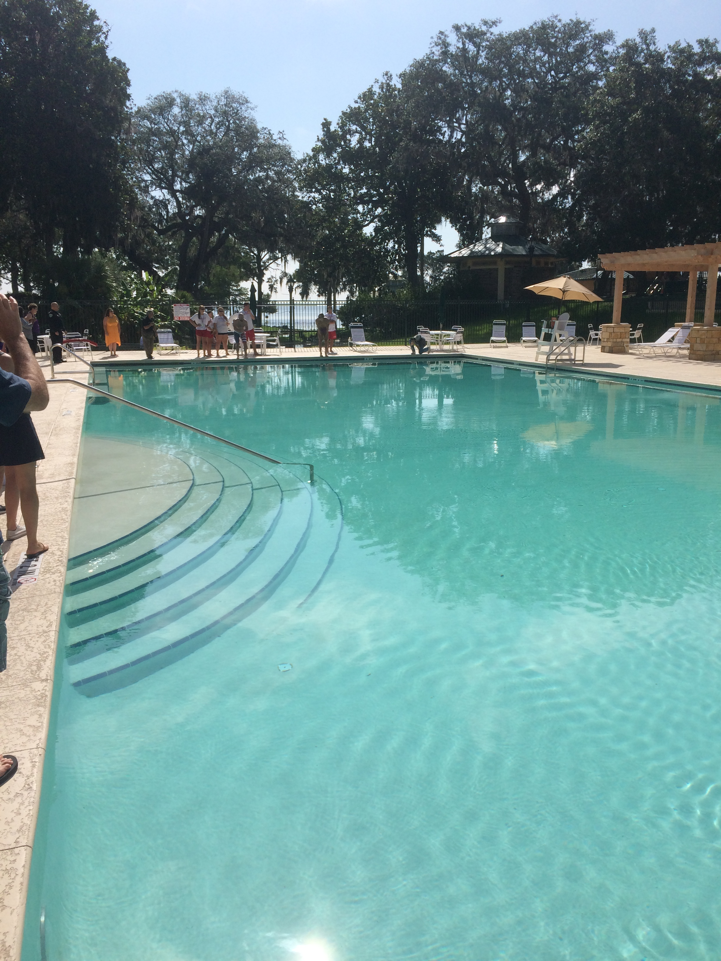 Photo of people gathered around the new Spring Park pool in Green Cove Springs