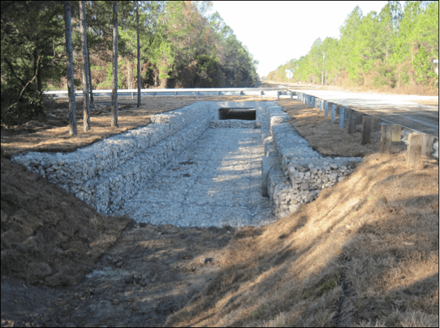 Photo of the Palatka Kircherr Intersection Improvements showing the drainage work involving a square cutout of the ditch along the intersection