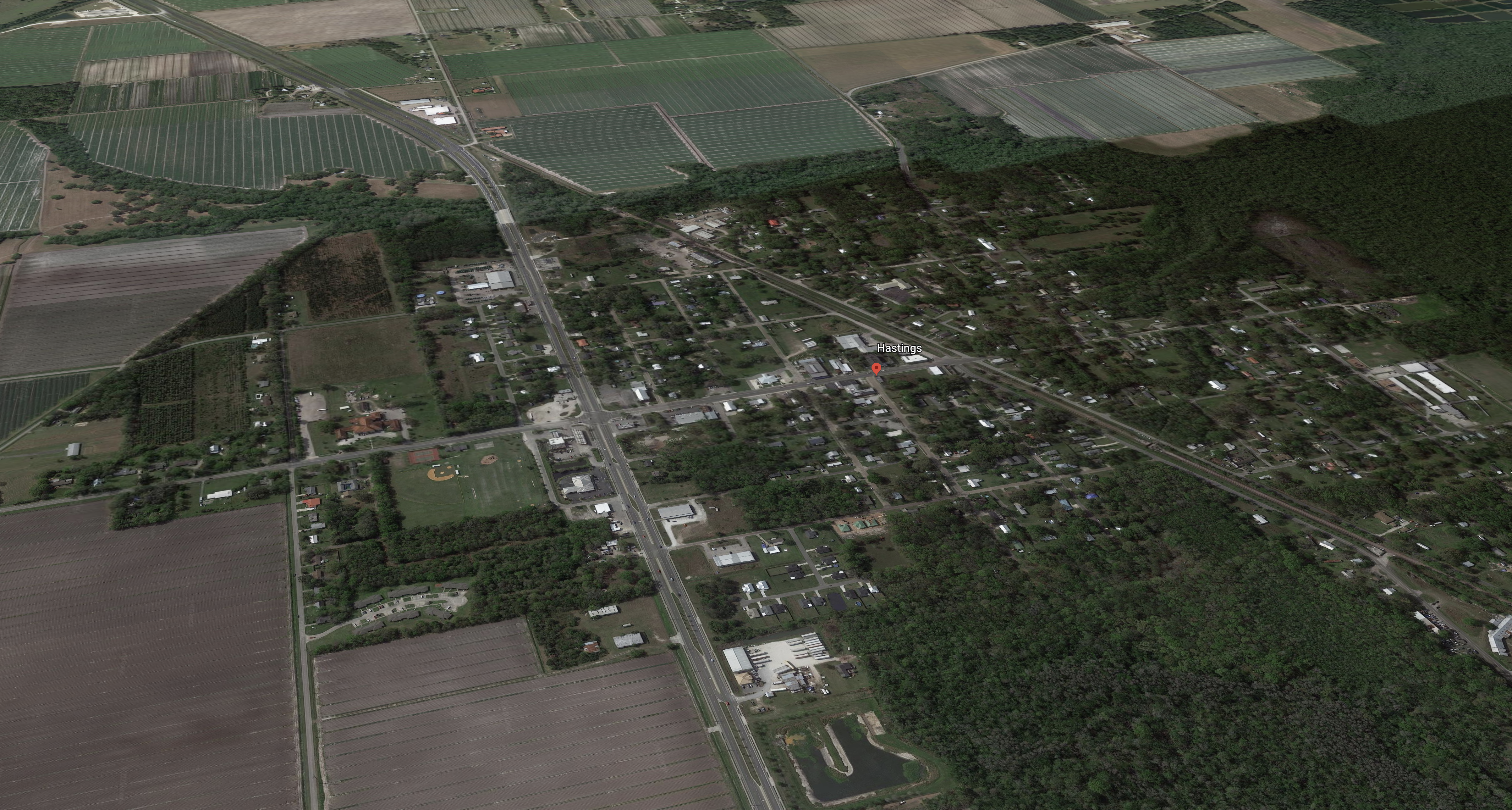 An aerial map of the Town of Hastings, showing large amounts of trees and land
