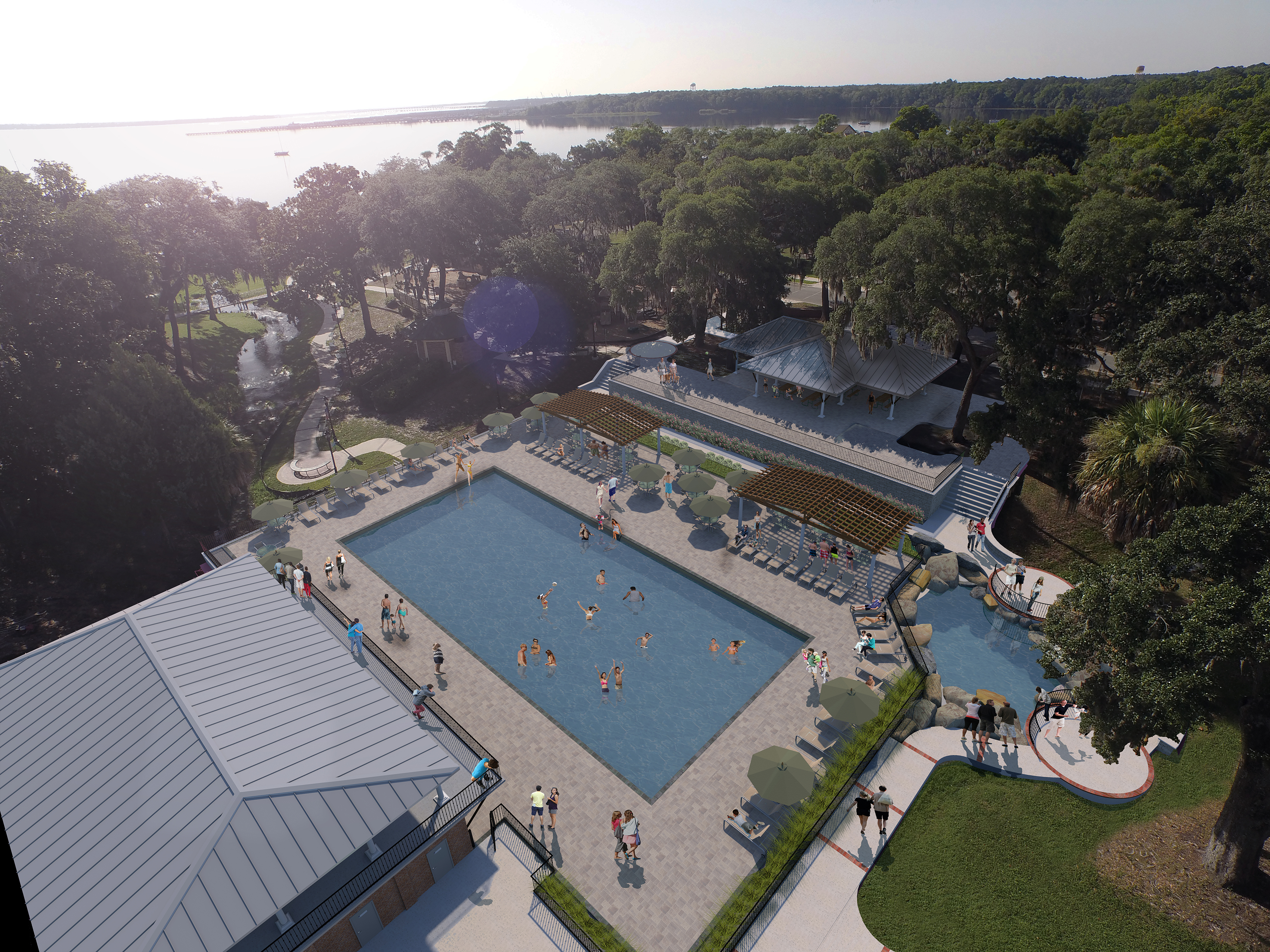 Colored aerial rendering of the Spring Park pool