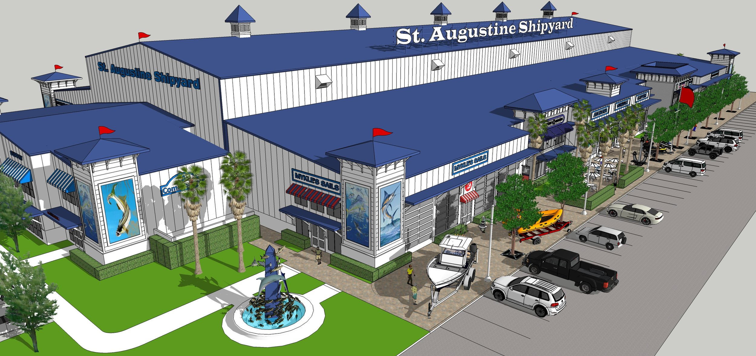 A colored rendering of the St. Augustine Shipyard Structure. It's a large white structure with a blue roof and shows retail spaces along the side with trees and parking out front