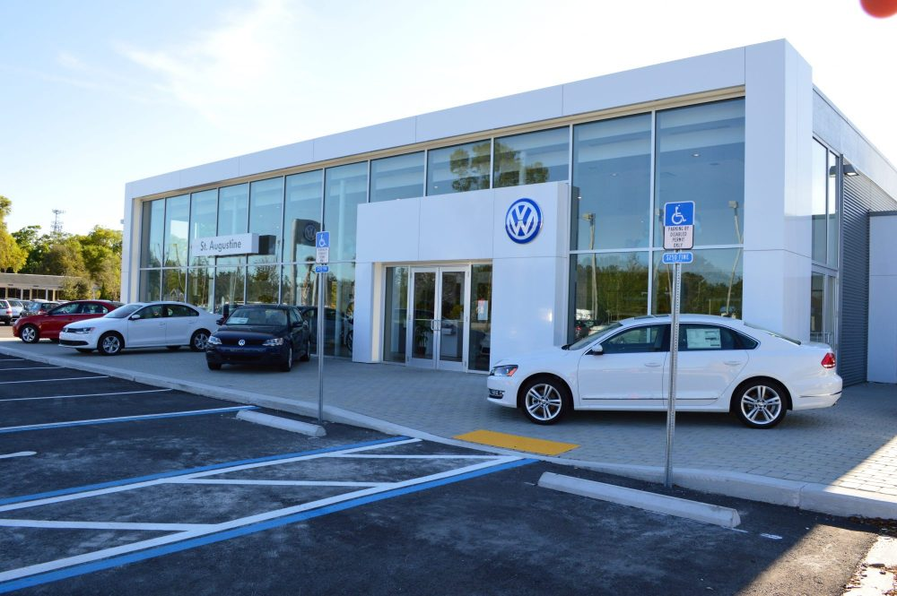 The entrance of Volkswagen of St. Augustine with cars parked out front