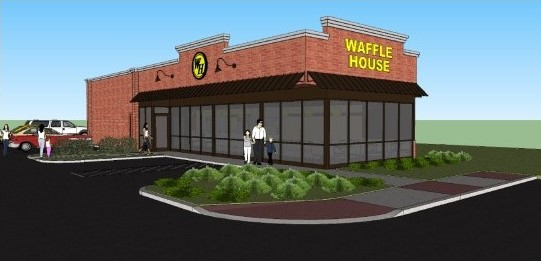 Colored rendering of a Waffle House Restaurant
