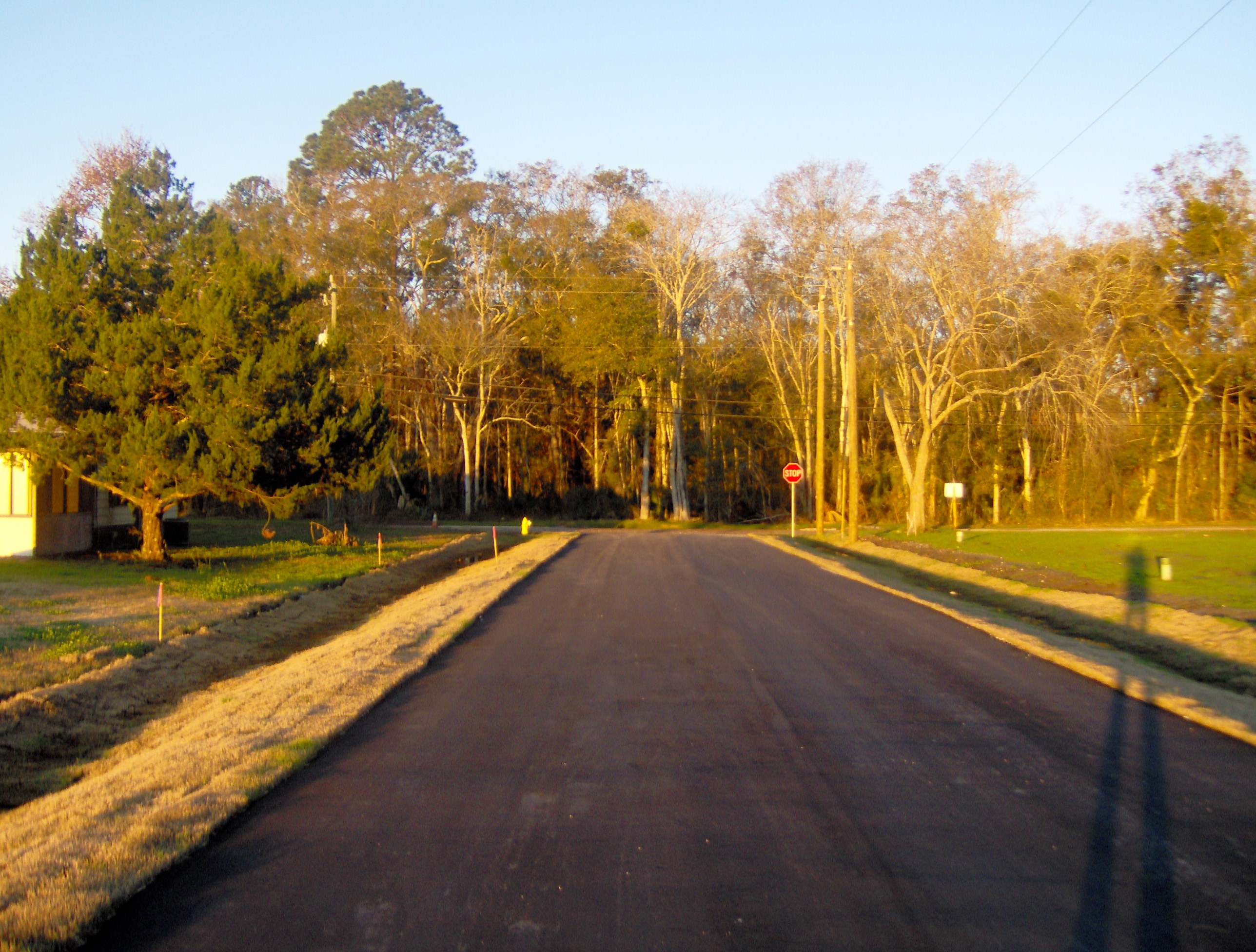 The west entrance to Carolina & North Peach Tree roads showing a fresh, black paved road