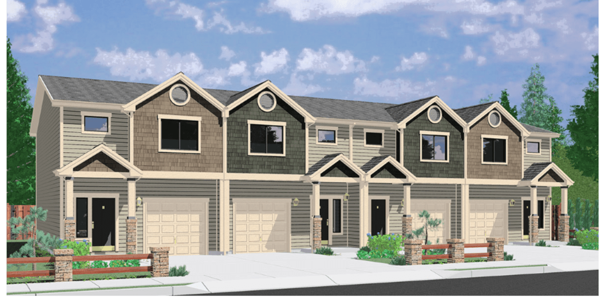 Rendering of the homes of Woodlawn Oaks. Modern looking tan and green paneled buildings with stone and wood fencing out front