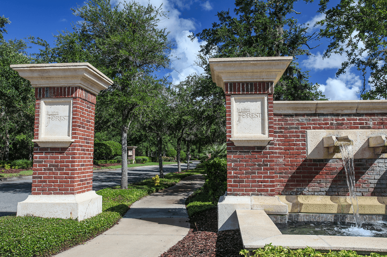 St. Johns Forest subdivision entrance gate.
