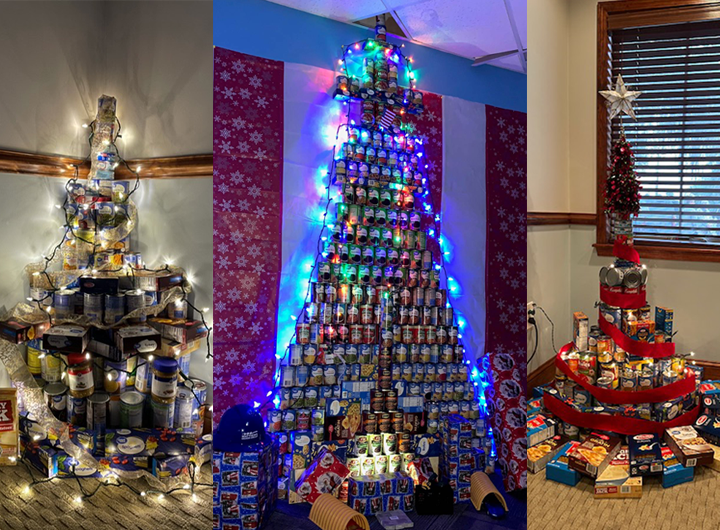 Canstruction Christmas trees made out of cans and boxes.
