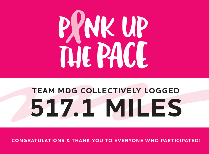 Pink Up the Pace MDG results image. MDG collectively logged 517.1 Miles